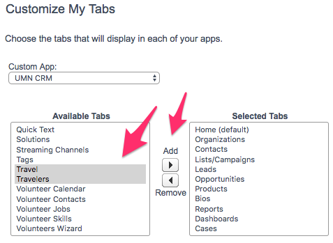 The Customize My Tabs screen with Available Tabs and Add/Remove buttons highlighted