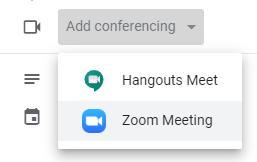 google calendar meeting scheduling. Add conferencing dropdown. Zoom meeting selected.