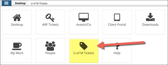 TDNext application menu open with U of M Tickets icon highlighted