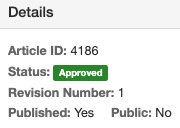 Details of an articles showing the Status is Approved.