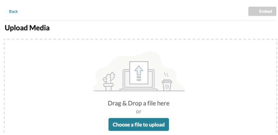 Kaltura upload media pop-up with drag and drop and choose file options.
