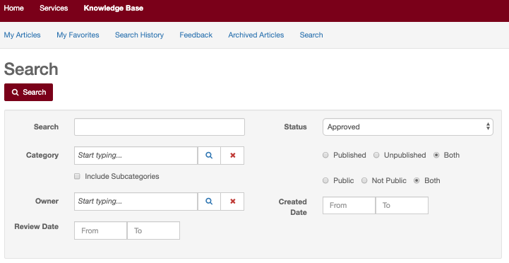 TDX search page with search criteria options including category, published status, public status, owner, created date and review date.