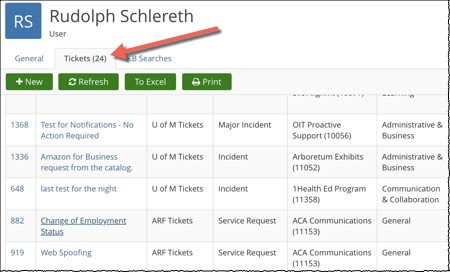 TDX user profile, tickets tab selected and highlighted.
