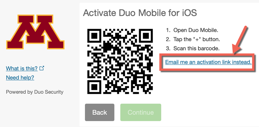 "Activate Duo mobile screen with QR code instructions. ""Email me an activation link instead"" highlighted."
