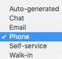 Source dropdown menu with options expanded. Phone selected