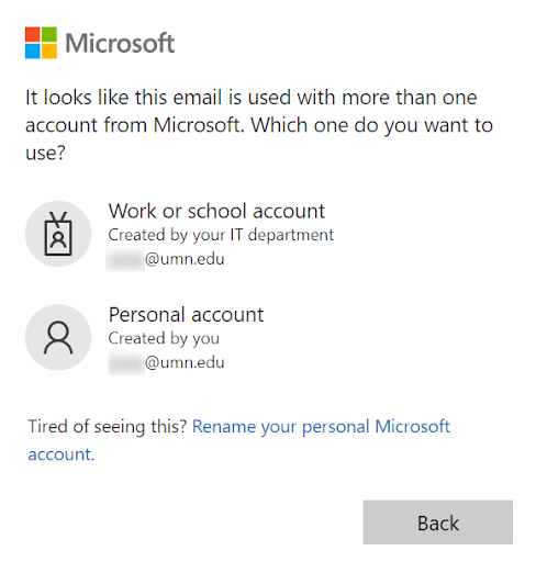 """Pop-up message """"It looks like this email is used with more than one account from Microsoft. Which one do you want to use?"""" Options for """"Work or school account"""" and """"Personal account"""""""