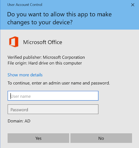 User Account Control window asking whether you'd like to allow this app to make changes to your device. Textboxes for your computer Username and Password. And buttons for Yes and No.