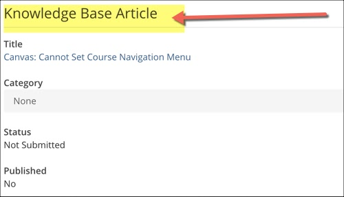Knolwedge base article highlighted. Associated KB article title, category, status and published status.