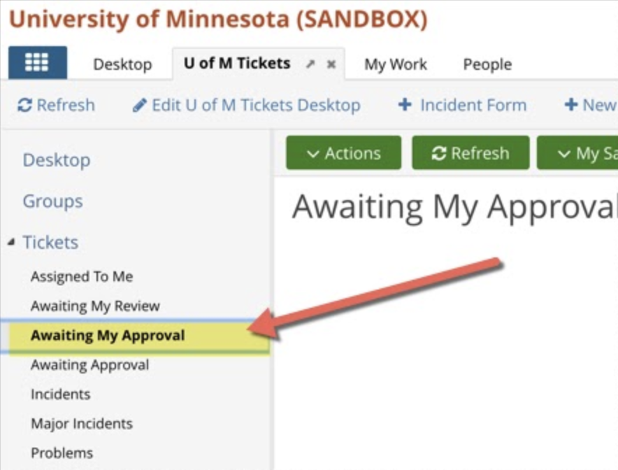 Awaiting My Approvals on the left navigation pane of the U of M Tickets app