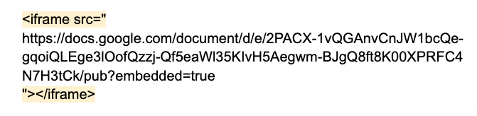 the embed code for the published google doc. the html to remove is highlighted.