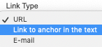 Linky Type menu with Link to anchor in the text highlighted