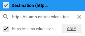 Destination search field with URL; URL discovered; Only button highlighted