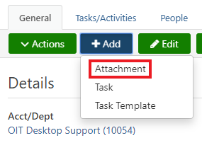 Ticket taskbar. Add dropdown expanded. Attachment highlighted.