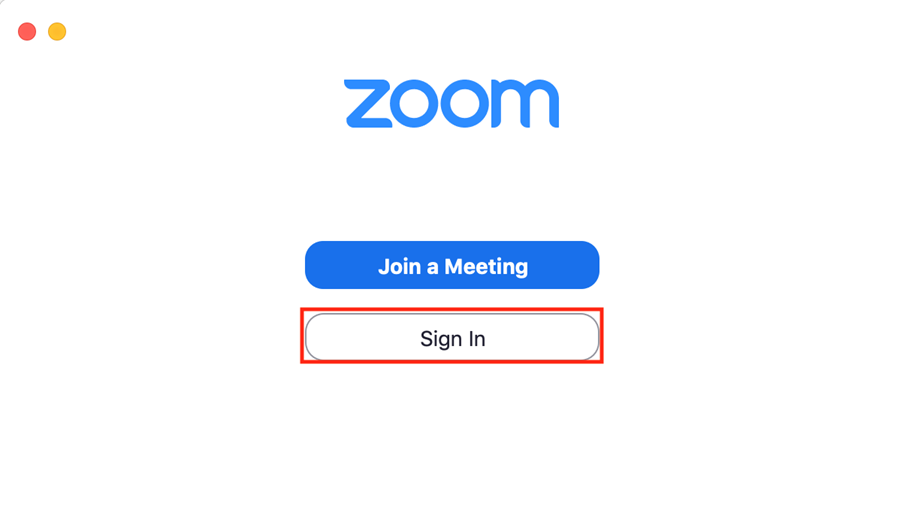 Zoom launch window with Sign In button highlighted.