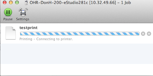 Test print window with a document titled testprint loading