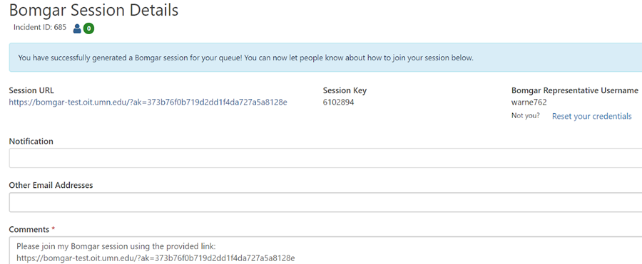 Bomgar session details page. Text indicates bomgar session successfully created. Additional options to connect user to bomgar session.