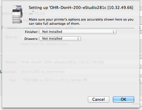 Example of the Setting up 'printer' page with Cancel and Ok  buttons at the bottom