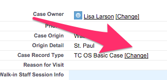 The location of Change next to Case Record Type