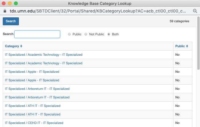 """TDX Knowledge Category Lookup view. Categories listed. Radio button options Public, Not Public, Both. """"Both"""" selected."""