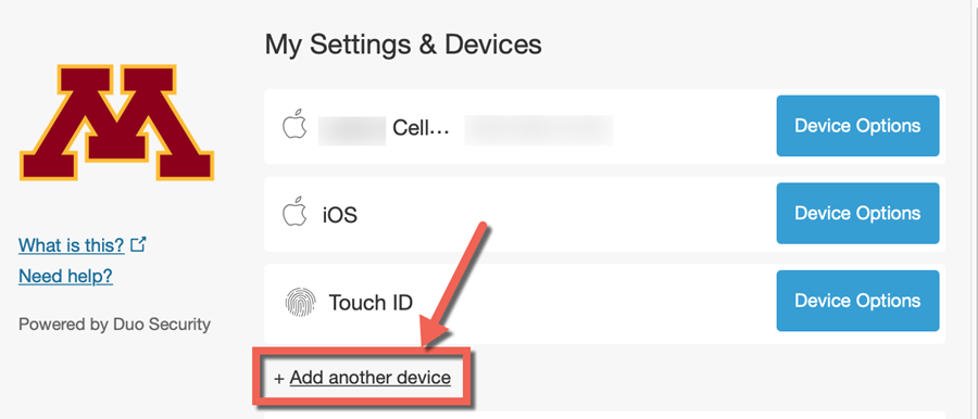 Duo My Settings & Devices Menu: Add another device link highlighted.