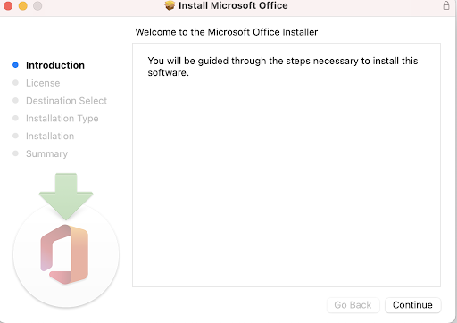 """Mac Install Microsoft Office window. Message """"You will be guided through the steps necessary to install this software"""" button to Continue"""
