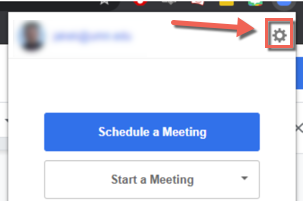 Zoom Browser extension menu. Schedule a meeting, start a meeting, user email and settings.