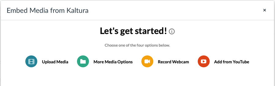 Embed media from kaltura pop-up with options: upload media, more media options, record webcam, add from youtube.