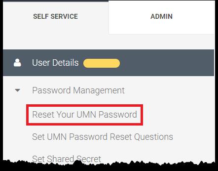 Self Service menu, Reset Your UMN Password selected
