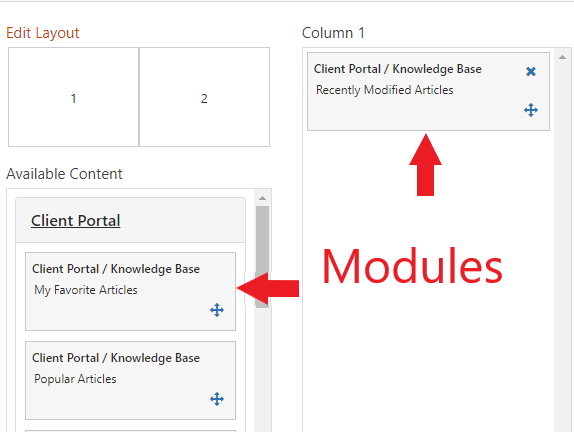 "Desktop create screen. Sections: Available content and Column 1.  Under available content, Client portal expanded with movable modules. Highlight showing the path of moving a module from available content into column 1 (ex. ""Client Portal/Knowledge Base"")"