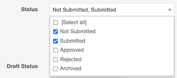 TDX knowledge statuses: Select All, Not Submitted, Submitted, Approver, Rejected, archived. Not Submitted and Submitted selected.d.