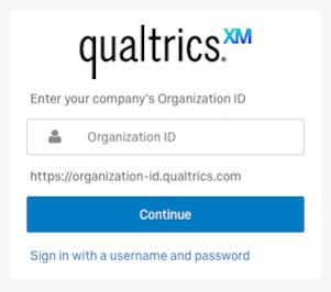 qualtrics enter umn in the organization id text box