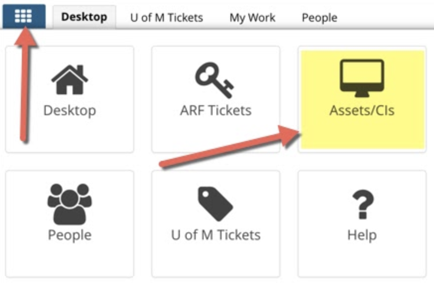 The application drop down menu open with Asset/CI application highlighted