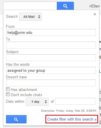 """Advanced search options with """"Create filter with this search"""" highlighted"""