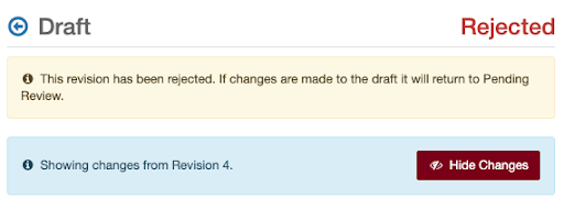 "Draft Reject information text box text: ""This revision has been rejected. If changes are made to the draft it will return to Pending Review.' A 2nd information text box says ""Showing changes from Revision 4."" It includes a Hide Changes button."
