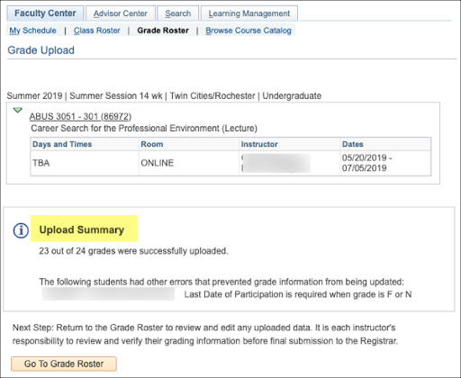 Faculty Center summary of what grades were successfully uploaded