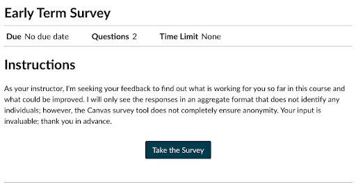 Early Term Survey instructions with Take the Survey button