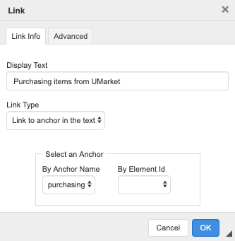 """Link window with """"Link Type"""" set to """"Link to Anchor in the Text"""" and """"By Anchor Name"""" has an example link text."""