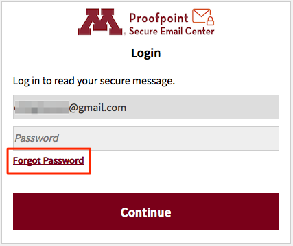 Proofpoint login screen with Forgot Password link highlighted