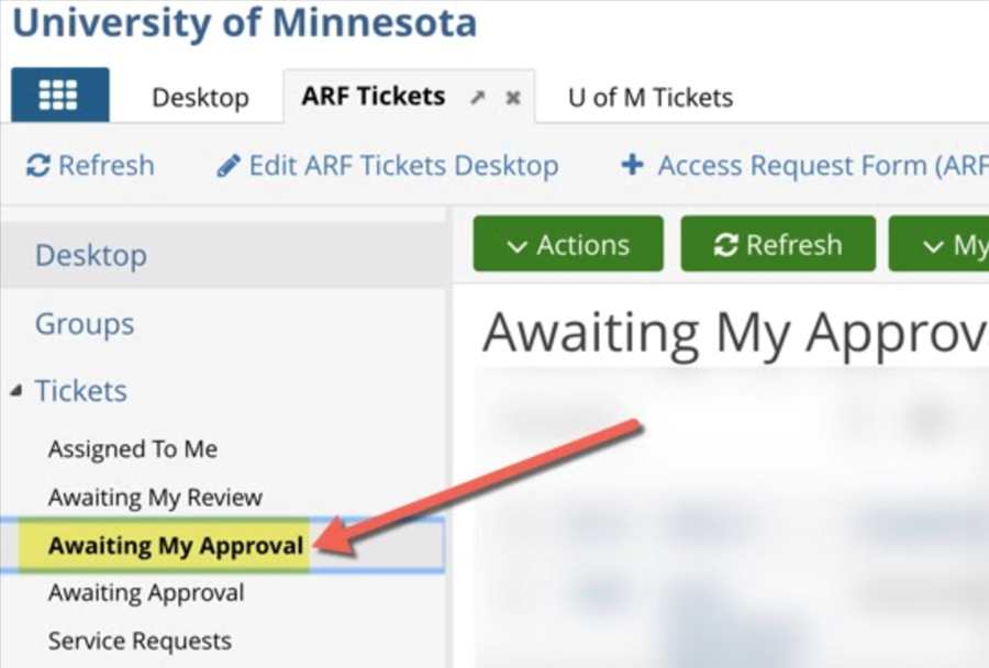 Awaiting My Approval option in navigation menu of the ARF ticketing App highlighted