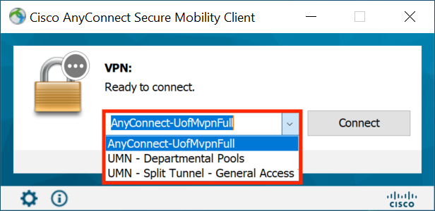 Cisco AnyConnect Client. The Full Tunnel option is now present.