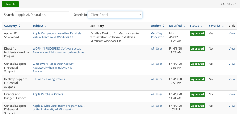 The Knowledge Base Article Lookup window with a Search button and box, as well as sortable columns displaying Category, Subject, Summary, Author, Modified (date), Status, Favorite, and Link.