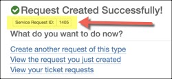 Request created successfully. Service request ID highlighted.