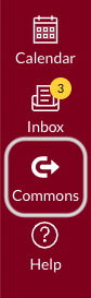 Canvas Global Navigation menu; Commons button highlighted
