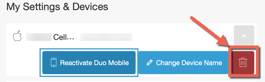 "Duo management, My Settings & devices. Device options expanded for Cell phone. Trash can ""remove"" icon highlighted."