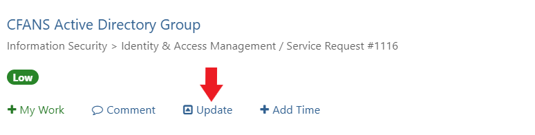 Arrow pointing to Update link in ticket.