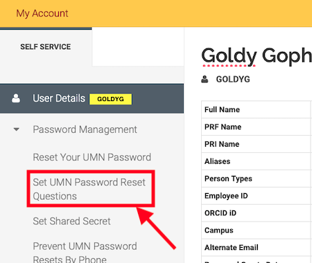 the my account page with the password management category expanded and the option to set UMN password reset questions highlighted.