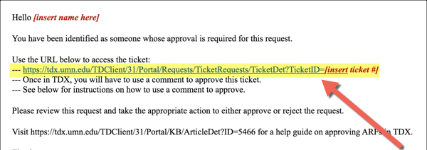 Key Contact approver email template with URL to ticket highlighted