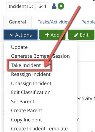 Ticket actions dropdown menu expanded with ticket options. Take Incident highlighted.