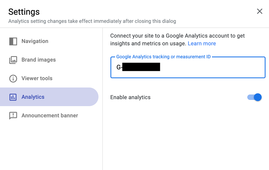 screenshot of the Analytics tab within the Google Sites Settings window.