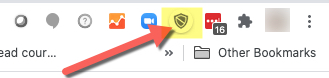 Chrome browser extension area; Proctorio shield icon highlighted